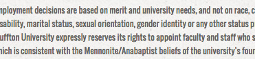 """Bluffton (Ohio) University's nondiscrimination employment policy, updated in October, includes the terms """"sexual orientation"""" and """"gender identity."""" — bluffton.edu"""
