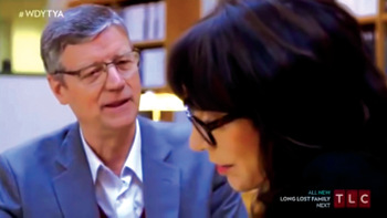 """Ervin Stutzman, executive director of Mennonite Church USA, talks with actress Katey Sagal on """"Who Do You Think You Are?"""" Researching her family roots, Sagal learns about the Jacob Hochstetler family and an incident of nonresistance in 1757. — YouTube"""