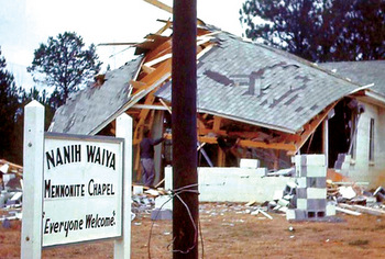 Nanih Waiya Indian Mennonite Chapel was bombed three times in the mid-1960s.