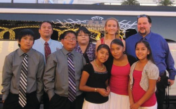 Hopi Mission School superintendent Thane Epefanio, right, principal Rebecca Yoder, parent volunteers and sixth graders on a class trip to Las Vegas in 2012. — Hopi Mission School Newsletter