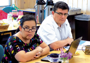 Elena and Willi Hugo Perez take part in a meeting of the North American SEMILLA Supporting Board at Anabaptist Mennonite Biblical Seminary in Elkhart, Ind., June 5-6. — Rich Preheim for MWR