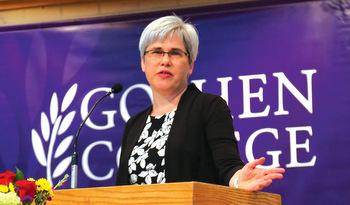 Rebecca Stoltzfus speaks to the Goshen College campus on June 14. — Goshen College