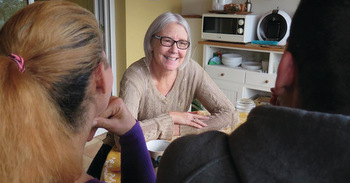 Connie Byler offers tea and friendship to refugees in her home in Burgos, Spain. — Connie Byler/MMN