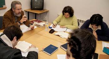 Dennis Byler, left, teaches a Greek New Testament class at the El  Escorial seminary. — Ryan Miller/MMN
