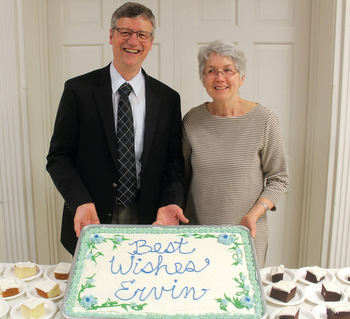 A program and reception April 13 honored Ervin Stutzman, who is retiring at the end of this month as executive director of Mennonite Church USA, and his wife, Bonnie. — Alex Woodring/MC USA
