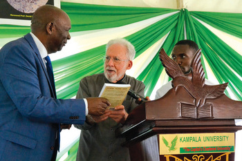 In front of an audience of about 1,000 at Kampala University in Uganda, Badru Kateregga and David Shenk speak about Christian-Muslim dialogue and the book they co-authored almost 40 years ago, A Muslim and a Christian in Dialogue. — Kampala University