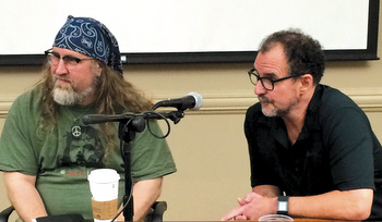 Visiting lecturers Bruxy Cavey, left, and Greg Boyd take part in a discussion at Fresno Pacific University. They participated in the seminary's Master of Arts in Ministry, Leadership and Culture program with Brian Zahnd for about two years. — Fresno Pacific University