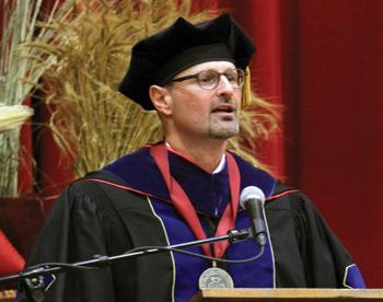 Bethel College President Jon Gering speaks at his innauguration Oct. 7 in Memorial Hall. — Vada Snider/Bethel College