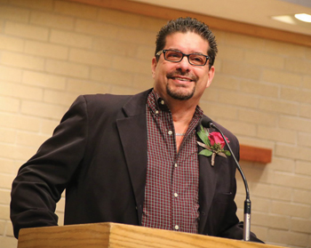 Philip Thomas speaks to campus in October 2017 during Homecoming Weekend while receiving the college's Culture for Service Alumni Award. — Goshen College