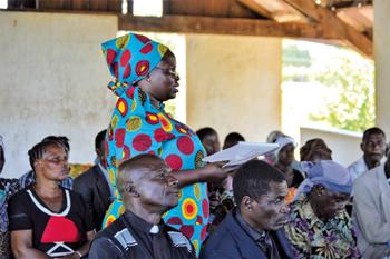 Elizabeth Randa, church leader and nurse, responds to a question during the leadership training event in Shirati, Tanzania. — Joyce Maxwell/EMM