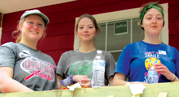 Madi Kilmer, Sara Dyck and Karen Harder are getting to see new people and learn skills with MDS. — John Longhurst/MDS