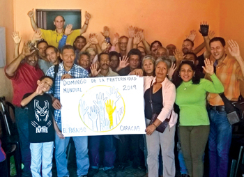 Inspired by Mennonite World Conference, people of the Mennonite church in the El Paraíso neighborhood of Caracas celebrate World Fellowship Sunday. — Linda Shelly/MMN
