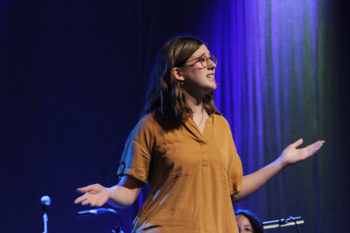 Abby King speaks July 4 in worship at the Mennonite Church USA convention in Kansas City, Mo. — Vada Snider/MWR