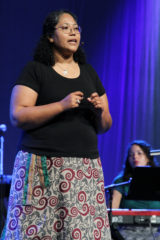 Marisa Smucker speaks July 4 at the Mennonite Church USA convention in Kansas City, Mo. — Vada Snider/MWR