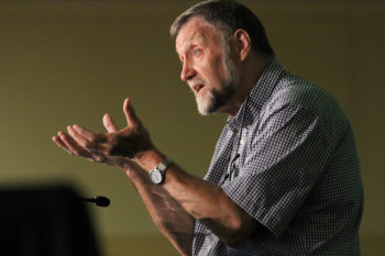 Tom Yoder Neufeld leads the first of three daily Bible studies July 3 at the Mennonite Church USA convention in Kansas City, Mo. — Vada Snider/MWR