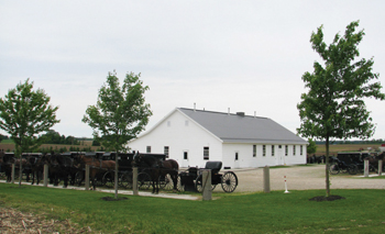 Buggies are parked outside Martindale Meetinghouse near Heidelberg, Ont., as instruction classes focused on the Dordrecht Confession take place inside. — Sam Steiner