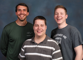 Mennonite Central Committee mobile cannery crew members: from left, Gabriel Eisenbeis, Kendall Weaver and Tristan Pries. Not pictured: Nathan Stoltzfus. — Brenda Burkholder/MCC