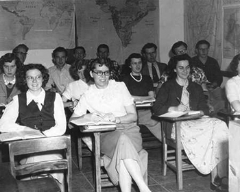 Pacific Bible Institute enrollment peaked at 161 students in 1949, the highest number of students of the Pacific Bible Institute era. — Fresno Pacific Biblical Seminary