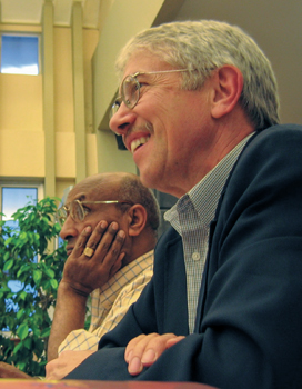 Richard A. Showalter, right, leads a meeting of the International Missions Association in 2005 in Indonesia. At left is Tilahun Beyene Kidane, IMA executive secretary. — Eastern Mennonite Missions