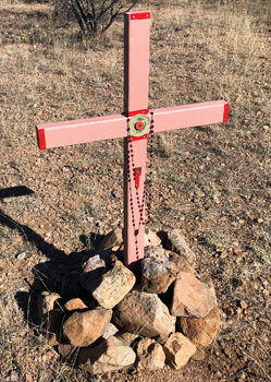 Carlos Rafael Montero DeLeon died here in July 2007. He was 45 years old, found in the desert less than a day after he died. His body was eventually sent back to his family in Mexico for a proper burial. Crosses like this are planted in the desert to represent where migrants have died after coming across the border wall. In six years, there have been 1,000 crosses planted, almost 150 per year. — J Ron Byler/MCC