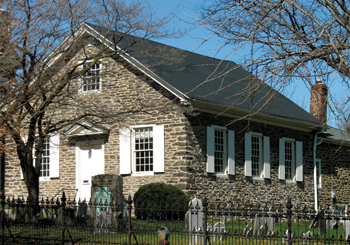 The Germantown Mennonite meetinghouse in Philadelphia was built in 1770 to serve a congregation that began in the late 1600s. Mennonites began worshiping at this location in 1708 in a log cabin, the first Mennonite meetinghouse in America. — Wikimedia Commons