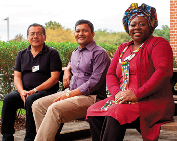Sibonokuhle Ncube of Zimbabwe, right, noted the connection between climate change and violence during a 2018 U.S. lecture tour with Zacharías Martínez of El Salvador, left, and Durga Sunchiuri, an MCC staff member in Nepal. — Brenda Burkholder/MCC