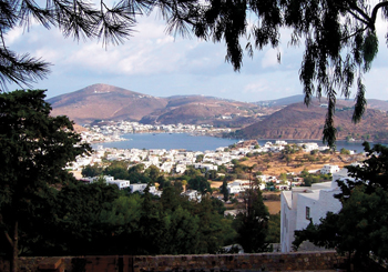 Harbor of the island of Patmos as seen from the mountain where, by tradition, John received his vision. — J. Nelson Kraybill