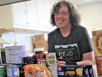 In addition to being technical services librarian at Eastern Mennonite University, Jennifer Ulrich is program director for the Patchwork Pantry food bank at Community Mennonite Church. — Patchwork Pantry