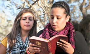 A Palestinian Christian youth wearing a keffiyeh scarf reads a Bible text during a weekly prayer service held as a form of nonviolent resistance against plans to build the Israeli separation wall through the land of the West Bank town of Beit Jala, a historically Christian community in 2012.