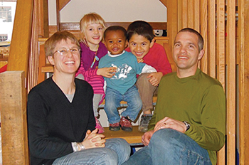 Anna and Ben Wyse, public health nurse and owner of Wyse Cycles, with their children Martha, Desmond and Sam.