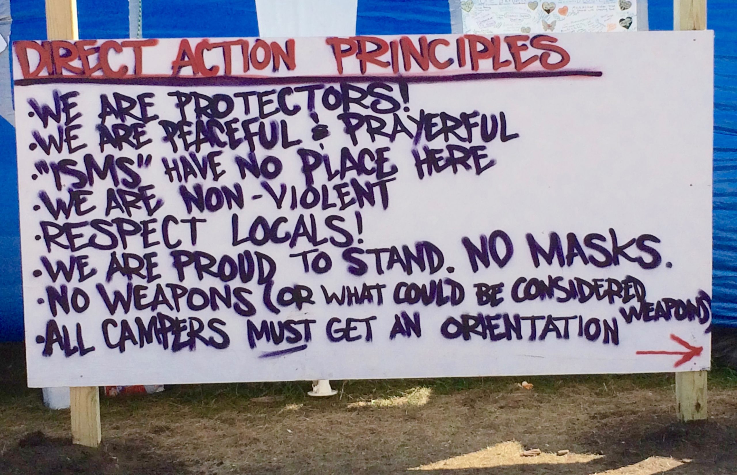 Sign at the Oceti Sakowin Camp. Photo credit: Ken Gingerich