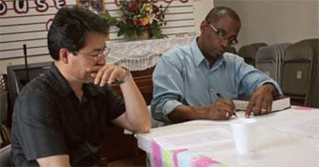 San Jin Choi with Karl McKinney, pastor of Northern Virginia Mennonite Church, Fairfax, Va. Photo provided