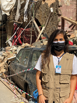 Maya El Jundi, MCC project coordinator for a peacebuilding project, helps to clean up a Beirut neighborhood with MCC partner Development of People and Nature Association. She is among several MCC project staff and partners helping daily with cleanup. — Mennonite Central Committee