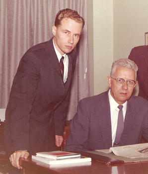 Robert M. Schrag, left, who edited MWR from 1969 to 1996, worked with his father Menno (pictured here in 1962) and son Paul during his 51 years with the company. — Mennonite World Review