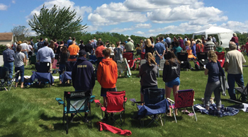 New Danville Mennonite Church in Lancaster, Pa., holds an outdoor worship service in July. — New Danville Mennonite Church